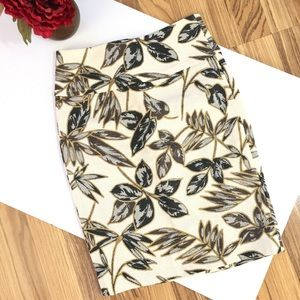 J. Crew gold foil leaf pencil skirt Sz 00P NWT